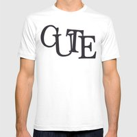 CUTE Mens Fitted Tee White SMALL