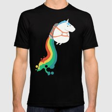 Fat Unicorn on Rainbow Jetpack Mens Fitted Tee SMALL Black