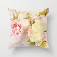 Paris Pink Yellow Peonies  Throw Pillow