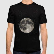 The Moon  [Sans Type] SMALL Black Mens Fitted Tee