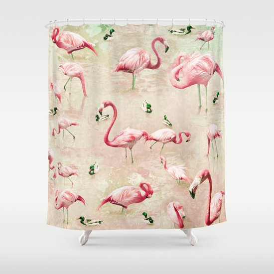 Flamingos vintage pink shower curtain by lisa argyropoulos for A bathroom item that starts with g