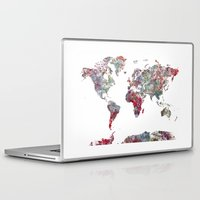 map Laptop & iPad Skins featuring World Map  by MapMapMaps.Watercolors
