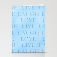 Love Laugh And Live Blue Stationery Cards