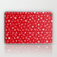White stars abstract on bold red background illustration Laptop & iPad Skin