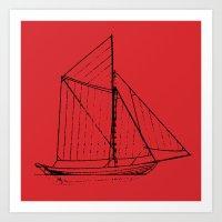 Eka Red Art Print
