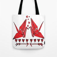Origami Birds In Love Tote Bag