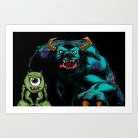 Mike & Sully (black)... Art Print