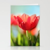 RED TULIPS IN THE SUN Stationery Cards