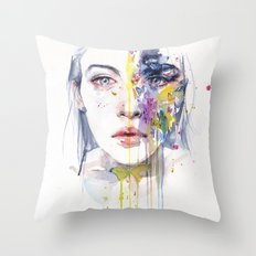 miss bow tie Throw Pillow