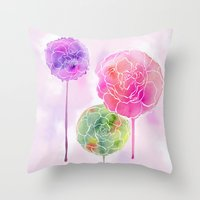 Succulent And Roses Throw Pillow