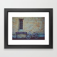 Bike, Wall And Window- O… Framed Art Print