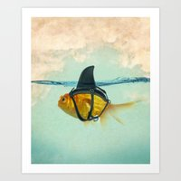 shark Art Prints featuring Brilliant DISGUISE by Vin Zzep
