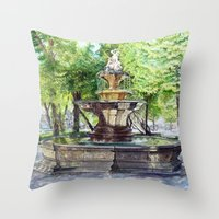 Old Fountain at Split, Croatia Throw Pillow