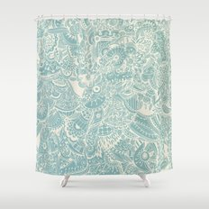 Detailed rectangle, light blue  Shower Curtain