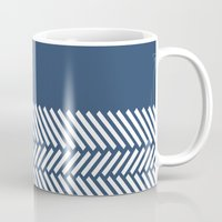 Herringbone Boarder Navy Mug