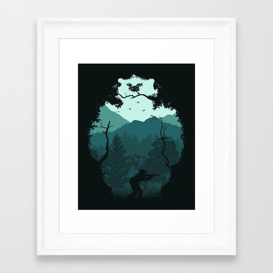 Hunting Season - Blue Framed Art Print