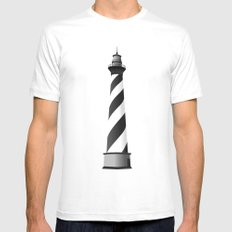 LIGHTHOUSE White Mens Fitted Tee SMALL