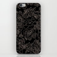 Pink coral tan black floral illustration pattern iPhone & iPod Skin