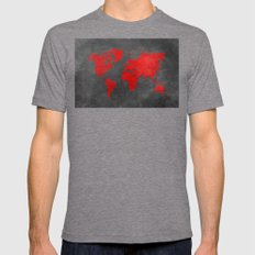 World map 5 Mens Fitted Tee Tri-Grey SMALL