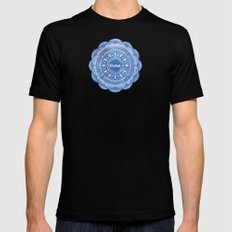 Calming Serenity Blue Mandala Mens Fitted Tee Black SMALL