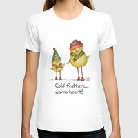 Two Chicks Pattern Womens Fitted Tee White SMALL