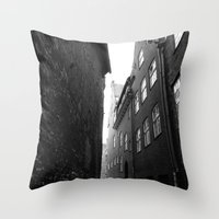 The Alley Photo In Black… Throw Pillow
