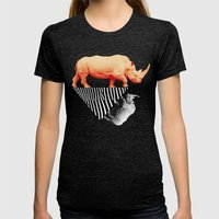 The Orange Rhinoceros Wh… Womens Fitted Tee Tri-Black SMALL