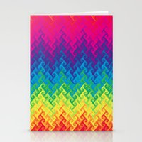 Neon Rainbow Flame Chevr… Stationery Cards
