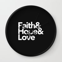 Faith & Hope &  Love Helvetica Wall Clock