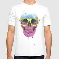 Pop Art Skull With Glass… Mens Fitted Tee White SMALL