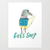 Surfer, surfing, surfboard,  Art Print