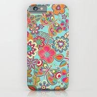 My flowers and butterflies in blue.  iPhone 6 Slim Case
