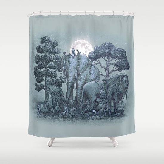 Midnight in the Stone Garden (colour option) Shower Curtain