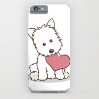 iPhone & iPod Case featuring Westie Dog with Love Illustration by Li Kim Goh