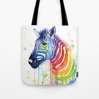 Zebra Watercolor Rainbow Painting | Ode to Fruit Stripes Tote Bag