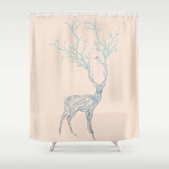 blue deer shower curtain by huebucket society6. Black Bedroom Furniture Sets. Home Design Ideas