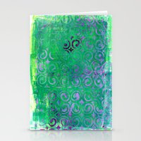 Purple Curls On Green Stationery Cards