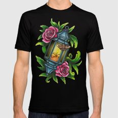 A Moth to the Flame SMALL Mens Fitted Tee Black