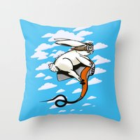 Hare Dryer Flyer Throw Pillow
