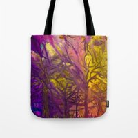 Psychedelic Forest Fire Tote Bag