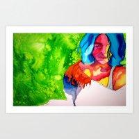 Model On The Green Art Print