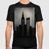 City Skyline  Mens Fitted Tee Tri-Black SMALL