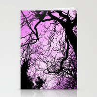 Purple evening moon through the trees Stationery Cards