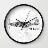 North American P51 Mustang (black) Wall Clock