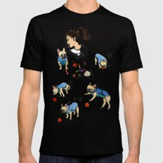 French bulldog playing with a basketball SMALL Black Mens Fitted Tee
