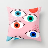 Noob - Eyes Memphis Retr… Throw Pillow