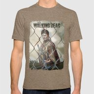 The Walking Dead Mens Fitted Tee Tri-Coffee SMALL