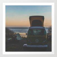 Camping at the ocean Art Print