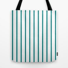 Vertical Lines (Teal/White) Tote Bag