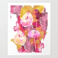 Painterly Flowers Art Print